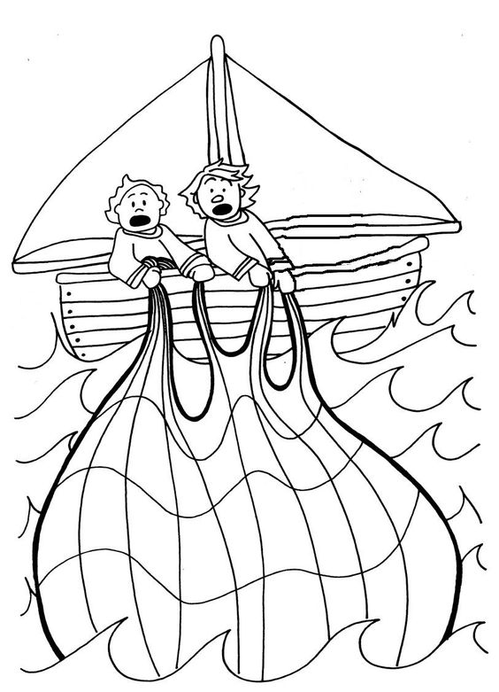 The miraculous catch of fish coloring pages - glue fish crackers onto net