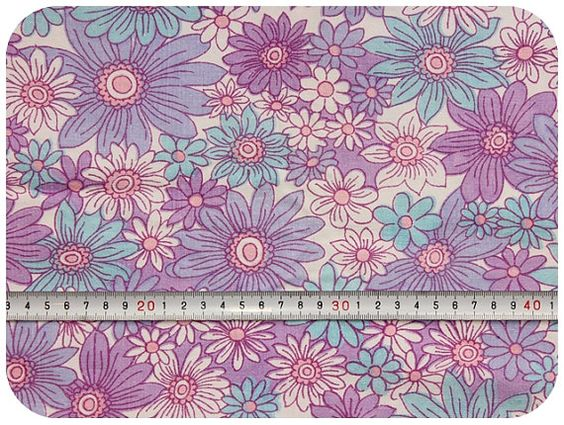 Floral retro vintage fabric  purple turquoise and by MirjamTheresa