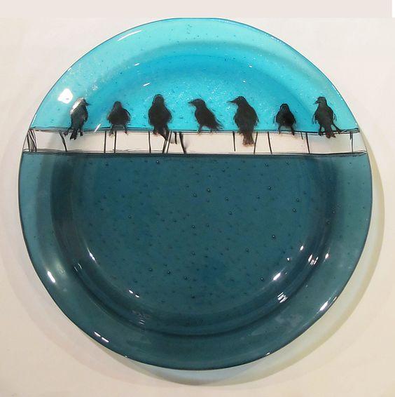 Birds on a Wire Platter: Alice Benvie Gebhart: Art Glass Platter | Artful Home