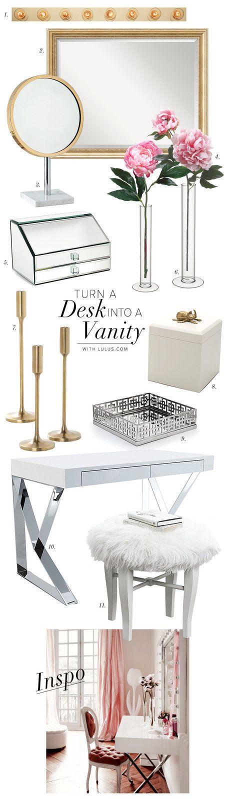 How to Turn Your Desk Into a Vanity - #organizedbeauty #storage #organization