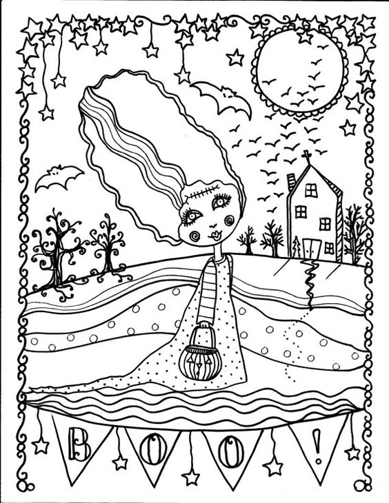 Advanced Halloween Coloring Pages To Print : Halloween coloring book page fantasy fantasie