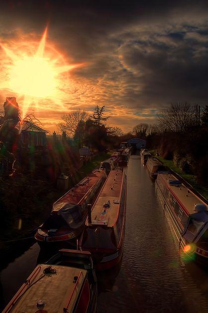 Narrow Boats Into The Sun