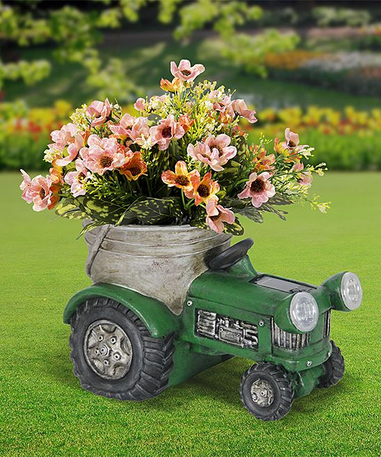 Exhart Green Tractor Solar Light Up Planter Zulily Green Tractors