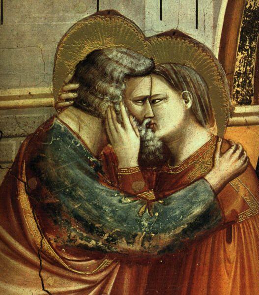 Giotto di Bondone: Scènes de la vie de Joachim - rencontre à la Porte d'Or, détail. (1304-1306). Fresque. Padoue, chapelle Scrovegni ou chapelle de l'Arena.