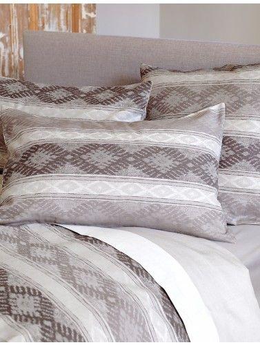 Ikat Stripe Grey Bedding Set