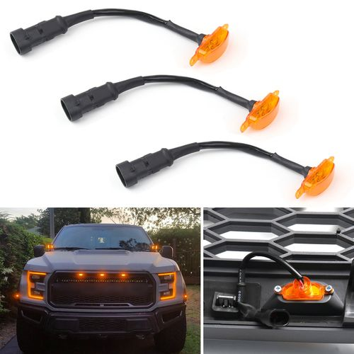 3pcs Led Light For Fit Ford F 150 F150 Raptor Style Grille Grill