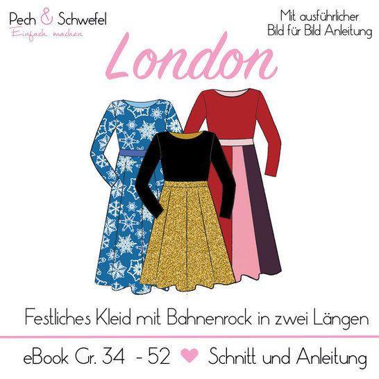 Ebook Kleid London Gr 34 52 A4 Und A0 In 2020 Kleider Festliches Kleid Schnittmuster