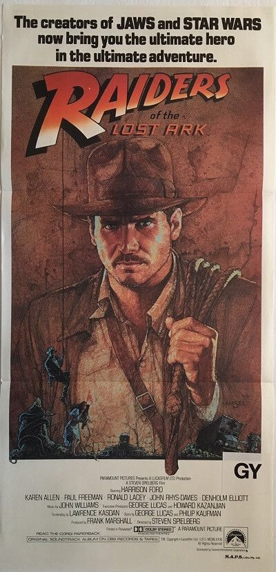 Raiders Of The Lost Ark 1981 Indiana Jones Australian Daybill Poster Available For Purchase From Our We Indiana Jones Movie Posters Vintage Film Poster Design