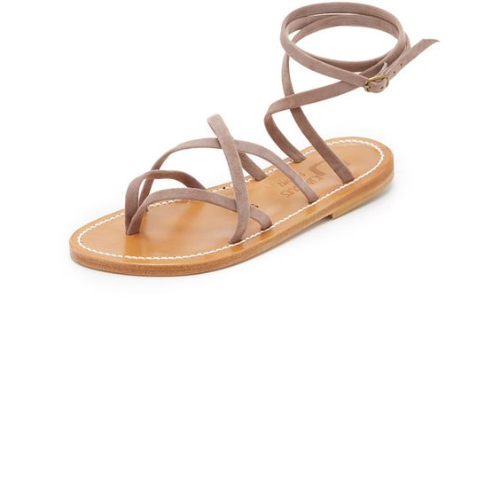 K. Jacques Zenobie Wrap Sandals (€260) ❤ liked on Polyvore featuring shoes, sandals, velours amande, k. jacques, k. jacques shoes, wrap sandals, leather sole shoes and flat thong sandals