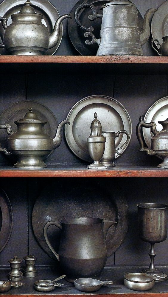 Pewter galore...the perfect fit for a Colonial Home!  A collection of pieces in one spot is always stunning.