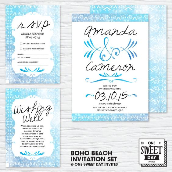 Wedding Invitations Boho Beach Wedding Bohemian Unique – Etsy Beach Wedding Invitations