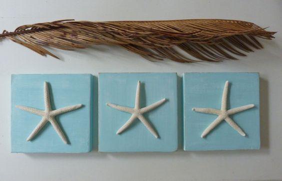 3 rustic aqua turquoise starfish wooden tiles