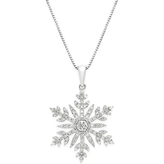 Diamond (1/3 ct. t.w.) Snowflake Adjustable Pendant Necklace in... (£120) ❤ liked on Polyvore featuring jewelry, necklaces, accessories, collares, jewels, silver, diamond heart necklace, snowflake pendant necklace, sterling silver jewelry and druzy pendant necklace