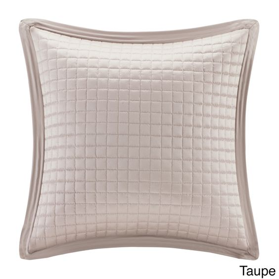 Madison Park Quilted Charmeuse Feather Down Filled Square Pillow