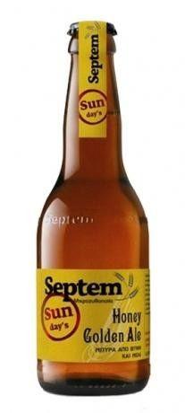 Cerveja Septem Honey Golden Ale, estilo Specialty Beer, produzida por Septem Microbrewery, Grécia. 6.5% ABV de álcool.