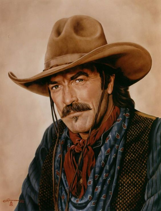 Tom Sellick - The Last Cowboy - Southwest / Western Art Oil Realism Portrait Painting - Portraits Artist Rick Timmons