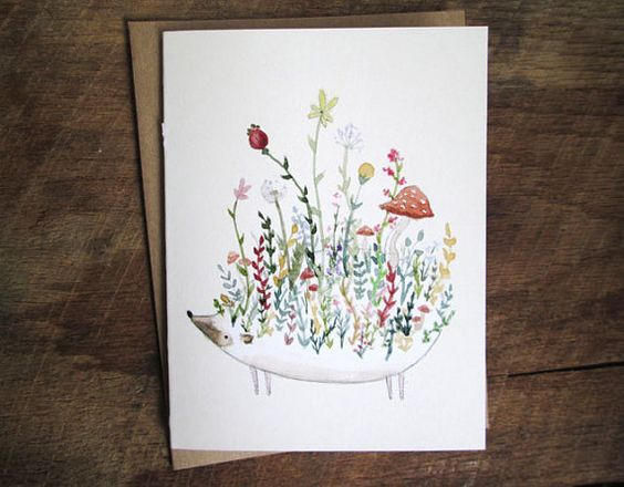 Floral Hedgie Single Card Igel Grusskarte von LindsayBlevinsShop