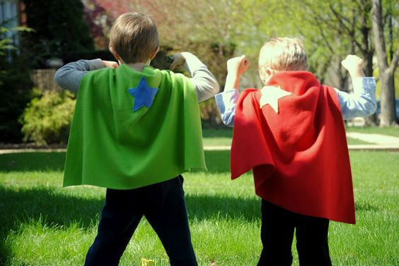 super hero capes for party. Buy cheap fabric and cut out different color stars and lightening bolts etc. Either premake or let kids decorate it themselves???
