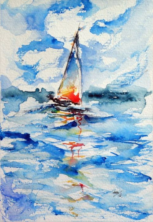 artfinder:  Sailboat by Kovács Anna Brigitta  Watercolours  Original watercolour painting on high quality watercolour paper. I love landscapes still life nature and wildlife lights and shadows colorful   || #Kunst #Art #Malerei #painting #Aquarell #watercolor