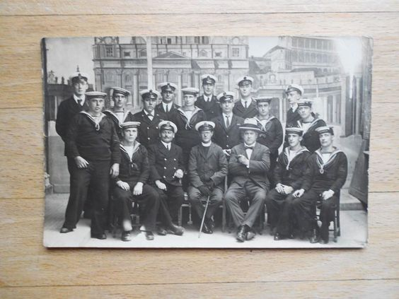 Old postcard of HMS Weymouth sailors & officers in navy uniform circa WW1 era | eBay