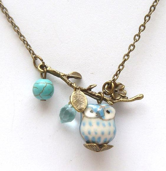 Antiqued Brass Leaf Turquoise Quartz Porcelain Owl Necklace: Little Owls, Antiqued Brass, Things Owl, Cute Owl, Brass Leaf, Owl Necklace