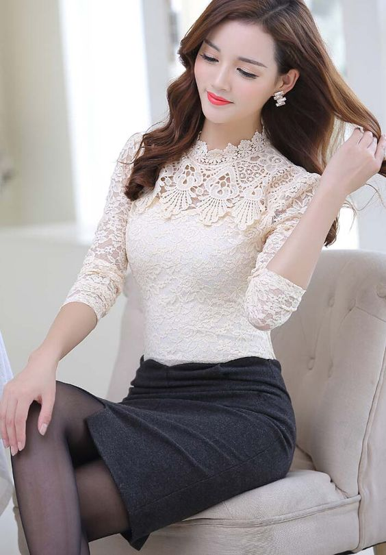 Women's #beige long sleeve #TShirt floral lace hollow cut design, stand lace collar, Pull over.