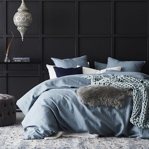 Vintage Washed Linen Quilt Cover Storm Blue Bed Linens Luxury Bed Linen Sets Bed Linen Design