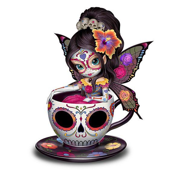 908225001 - Jasmine Becket-Griffith Sugar Skull-Inspired Fairy Figurine