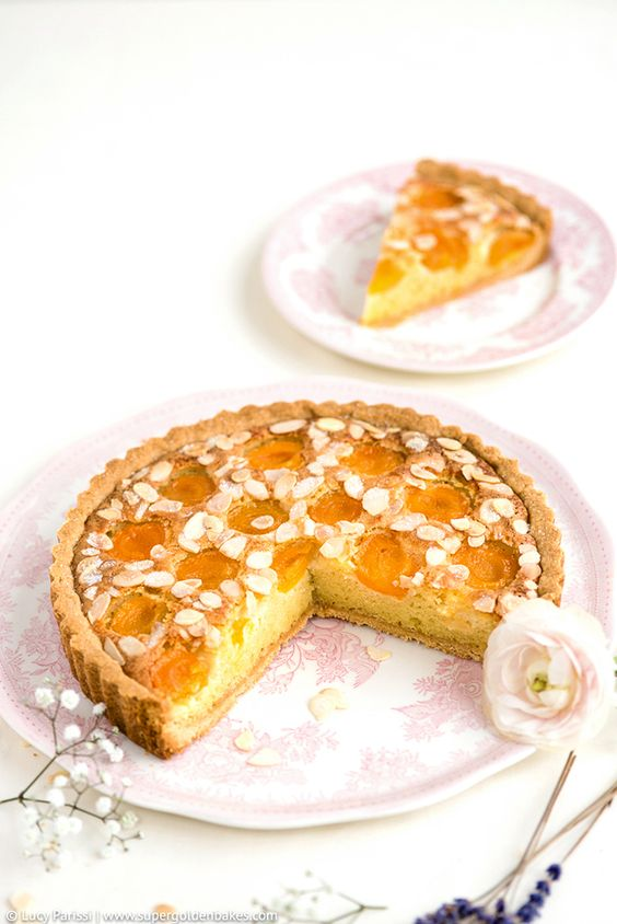 Apricot, Almond and Ricotta Frangipane Tart with Apricot Lavender Ice cream