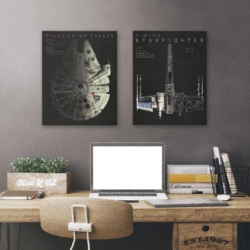 Star Wars Falcon Wall Art 20 X16 2pc Target Star Wars Room Decor Star Wars Room Star Wars Bedroom