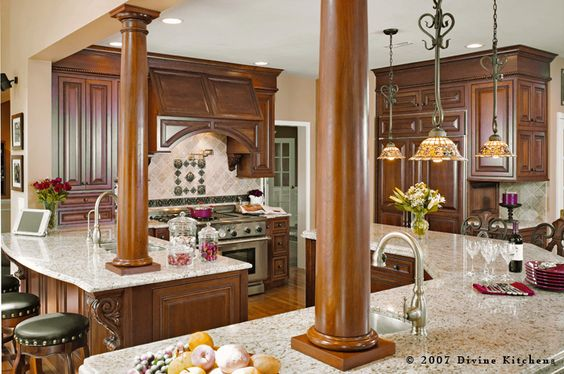 I like the columns and corbels; I'd paint the columns white though. Don't know where I could use a column in my kitchen (perhaps within an opening to the dining room) but I'd like to find a way.