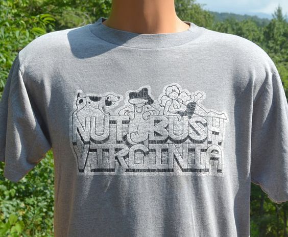 80s vintage t-shirt NUTBUSH virginia soft thin wtf by skippyhaha