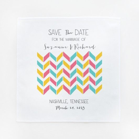 awesome chevron save the date hankies