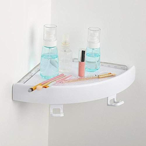 Aolvo Bathroom Shower Shelf No Drilling 1 Tier Plastic Paste Wall Corner Shelf With Shower Caddy Hooks Sh Shower Storage Shower Shelves Bathroom Corner Shelf