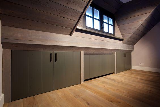 Inbouwkast maatwerk inbouwkast onder het schuine gedeelte van het dak interieurs pinterest - Kantoor onder het dak ...