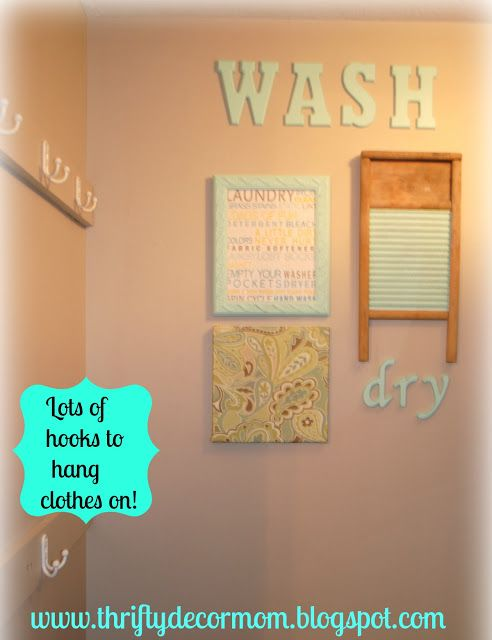 Thrifty Decor Mom: Project Laundry Room - The Reveal!! Love the 'Wash' and 'dry' lettering!
