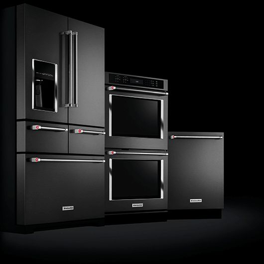 The First Ever Stainless Steel BLACK Premium Kitchen Appliances and Suites   KitchenAid Refrigerator Ovens Freezer Dishwasher