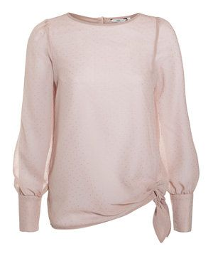 Shell Pink (Pink) Shell Pink Long sleeve Bow Side Top   270517472   New Look