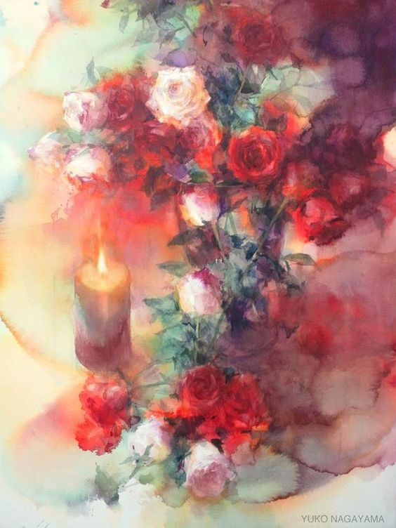 Artist Yuko Nagayama, #watercolor #flowers #painting #brightcolor #roses: