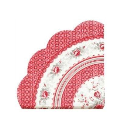 Servilletas de papel en forma de blonda modelo Sophie Vintage de GreenGate, Ideales para usar como servilleta desechable y también para decorar la mesa como bajo plato o salvamanteles. plate from set for x mas