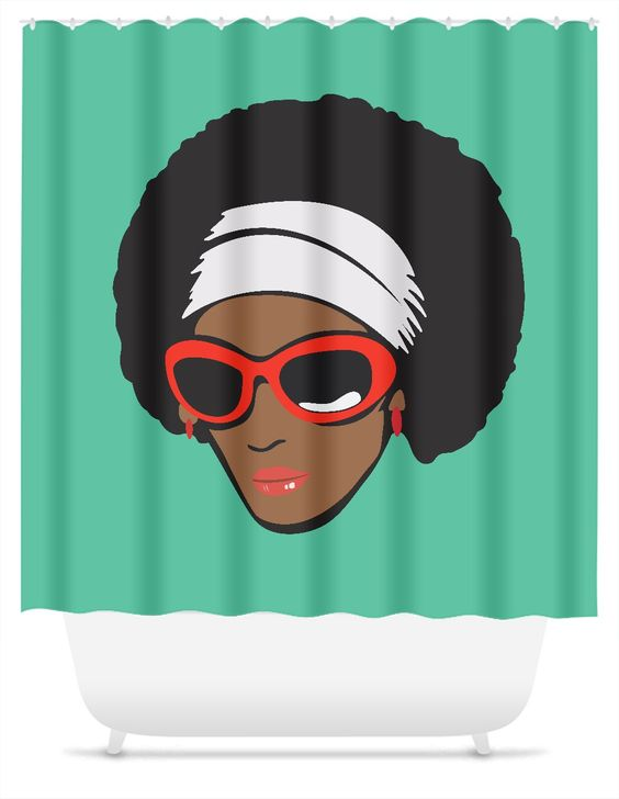 Funky Diva with Afro Shower Curtain | Afro, Accessories and Divas