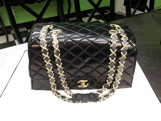 Black Chanel bag.