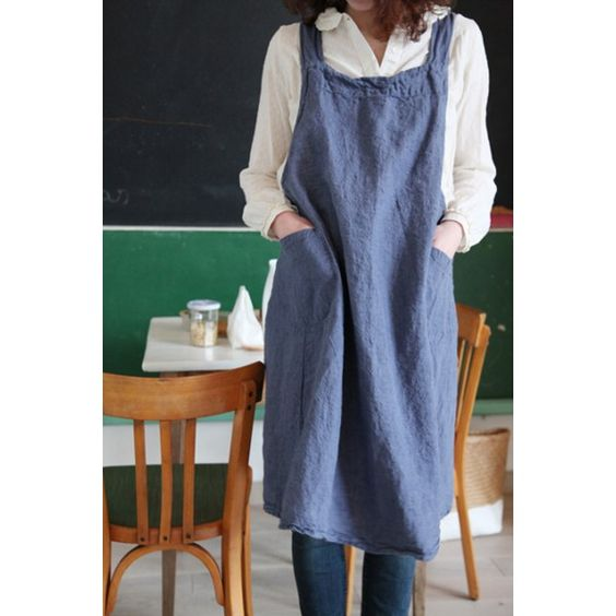 Tablier japonais en lin lav adulte et enfant couleur jean le rep re des belettes for Couleur lin clothing