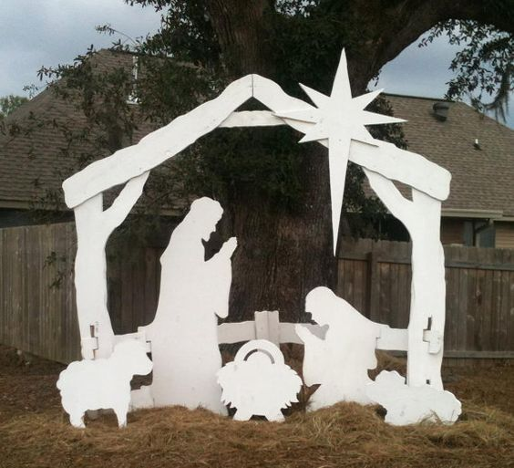 Outdoor life size nativity scene by ftlproductions on etsy for Outdoor christmas scenes