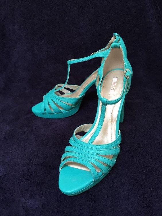 GEOX RESPIRA Ladies Summer Sandals Hells shoes UK7 EU41 BNWOB RRP£79 Green/UBlue