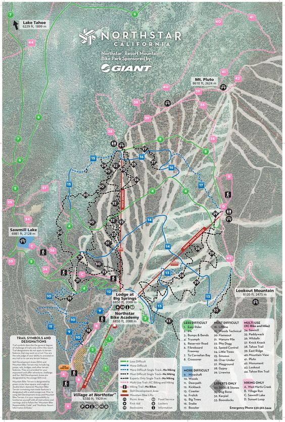 Interactive Summer Trail Map Northstar Lake Tahoe  Things to Do