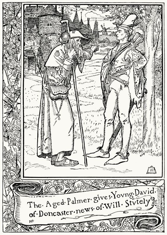The aged palmer gives young David of Doncaster news of Will Stutely. From The merry adventures of Robin Hood, written and illustrated by Howard Pyle, New York, 1892. (Source: archive.org):