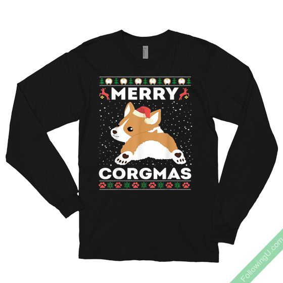 Merry Christmas Corgi Corgmas Dog Santa Hat T-shirt