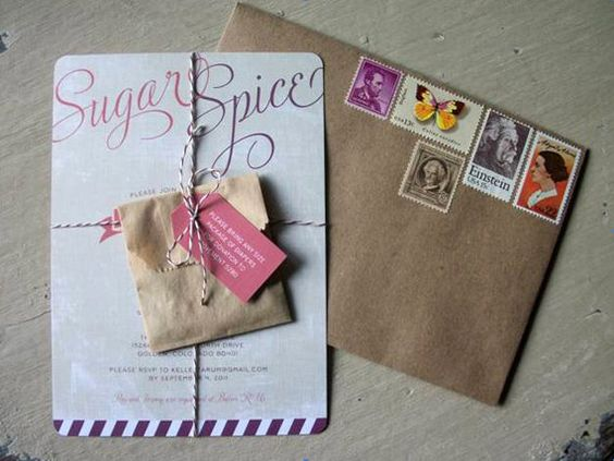 sugar and spice baby shower invitation or bridal shower invitation