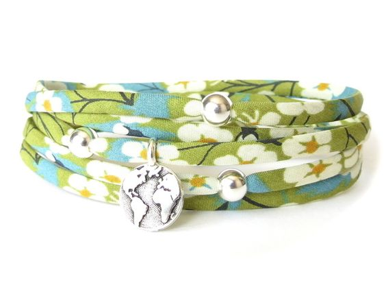 Liberty fabric bracelet in spring green, earth charm bracelet, welcome home gift £15.00